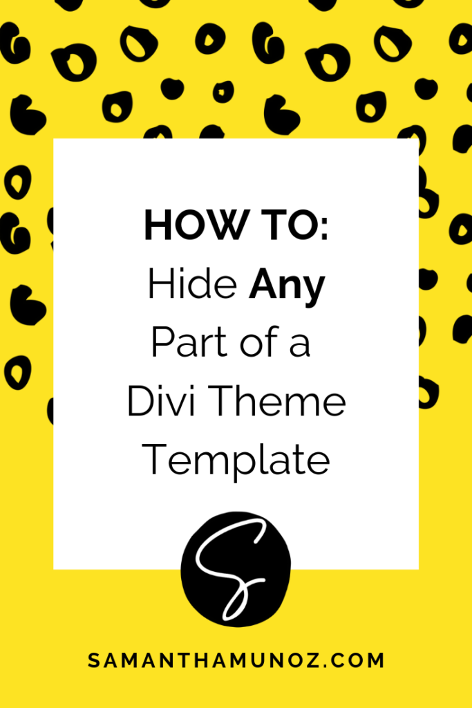 You've found a Divi template you love and it's almost perfect, there's just one section you'd rather hide for now. Learn how to hide any part of a Divi template. @sammunozconsulting www.samanthamunoz.com   #diywebsitedesign   hide any part of a divi template   divi reveal hidden section   divi templates   learn divi