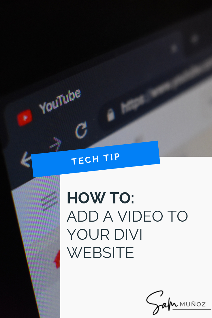 How do you use the Divi video module to embed a video from Youtube or Vimeo? It's easy! Learn how to use the Divi video module in this post! @hellosammunoz www.samanthamunoz.com #divitheme #wordpressforbeginners #wordpresstheme #bloggingtips #elegantthemes