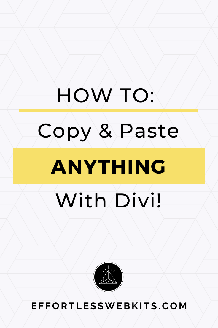 Learn how to copy and paste ANYTHING with divi to keep your website cohesive and make changes fast. @hellosammunoz https://effortlesswebkits.com